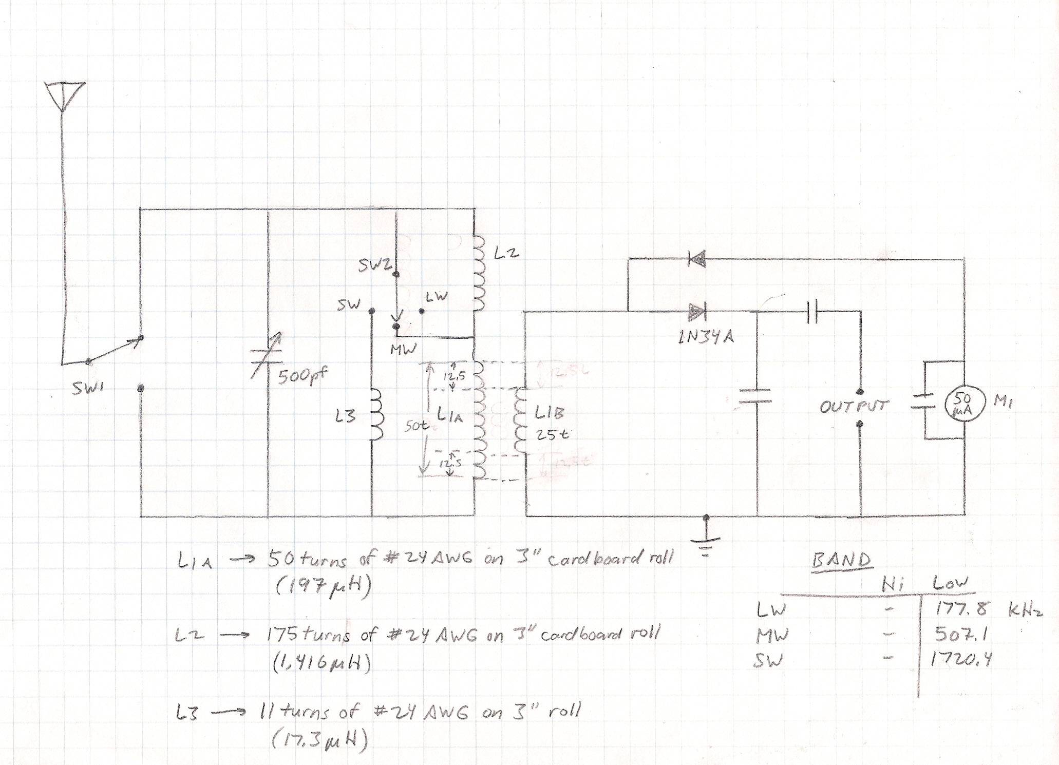 Build A High End Multiband Crystal Radio Alvenh Channe Diode For Low Impedance Headphones Modified Schematic Diagram