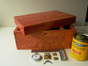 """Box stained with Minwax """"Gunstock"""" (color) stain."""