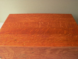 Top of the box, stained.