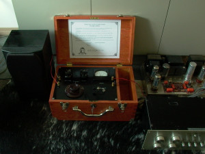 Crystal set connected to a stereo system.